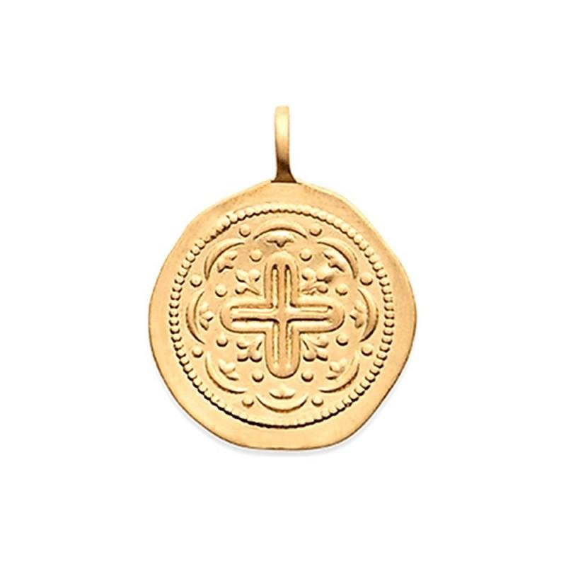 Pendentif plaqué or médaille antique