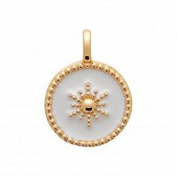 Pendentif plaqué or médaille soleil émail blanc