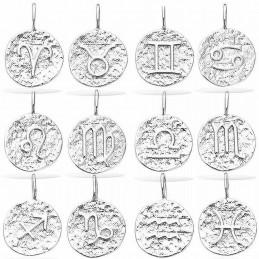 Pendentif argent signe astrologique médaille martelée