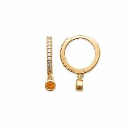 Mini créoles avec pendentif plaqué or zirconium orange