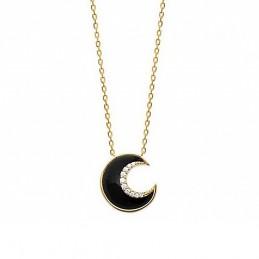 Collier plaqué or demi lune en agate noire