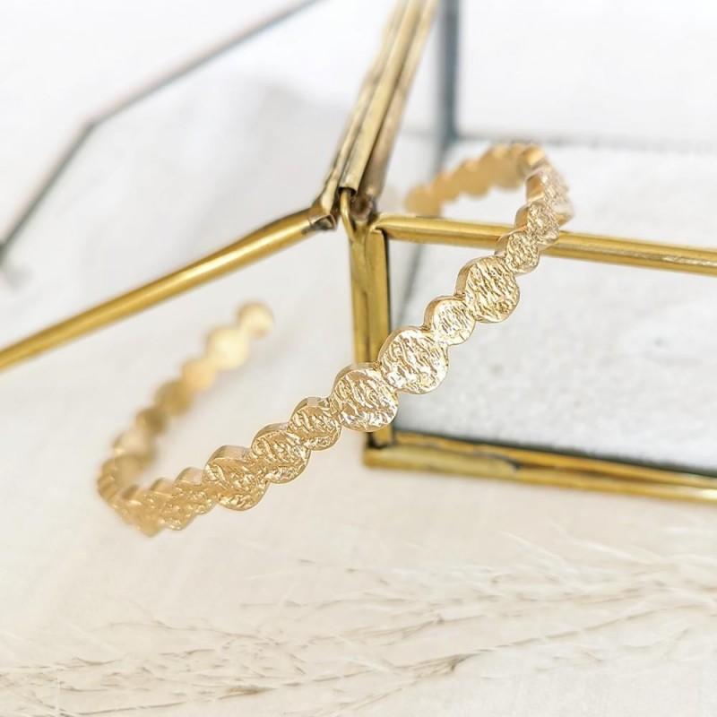 Bracelet jonc plaqué or martelé