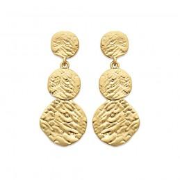 Boucles d'oreilles plaqué or pendantes martelées