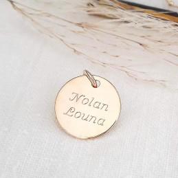 Pendentif personnalisé médaille à graver plaqué or 15 mm