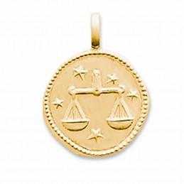 Médaille signe astrologique Balance plaqué or