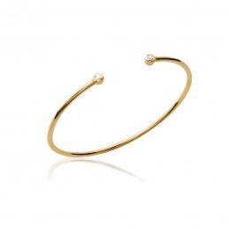 Bracelet jonc plaqué or zirconium ouvert devant