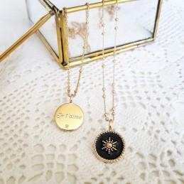 Collier personnalisé plaqué or médaille émail noir
