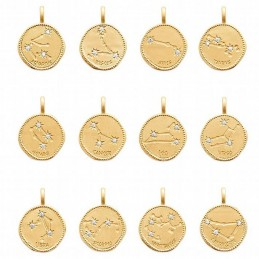 Pendentif médaille constellation plaqué or zirconium