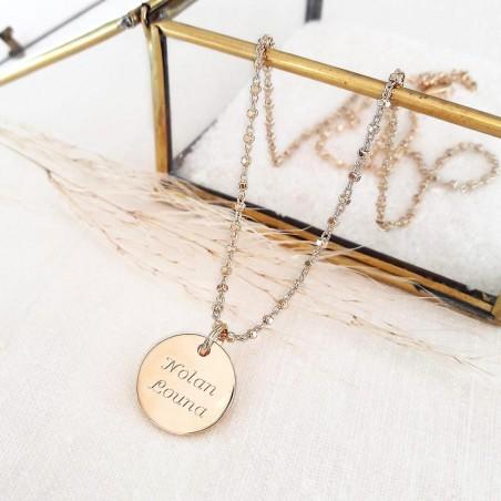 Collier personnalisé plaqué or médaille gravée 15 mm