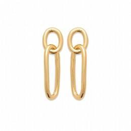 Boucles d'oreilles pendantes plaqué or maillons rectangulaires