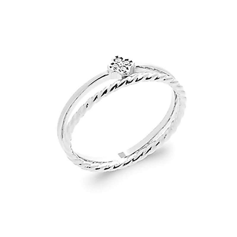 Bague argent 925 double anneau zirconium
