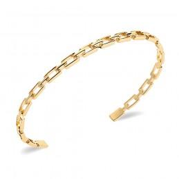 Bracelet jonc plaqué or motif chaîne maille rectangulaire