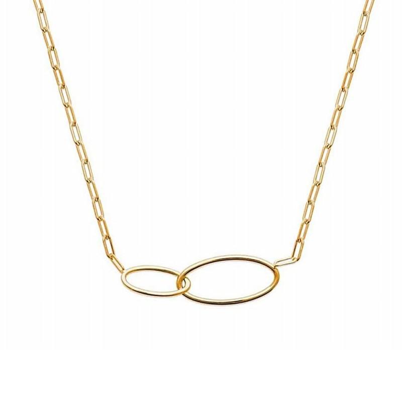 Collier plaqué or chaîne grosse maille anneaux intercalés