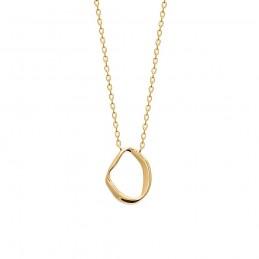 Collier plaqué or anneau irrégulier