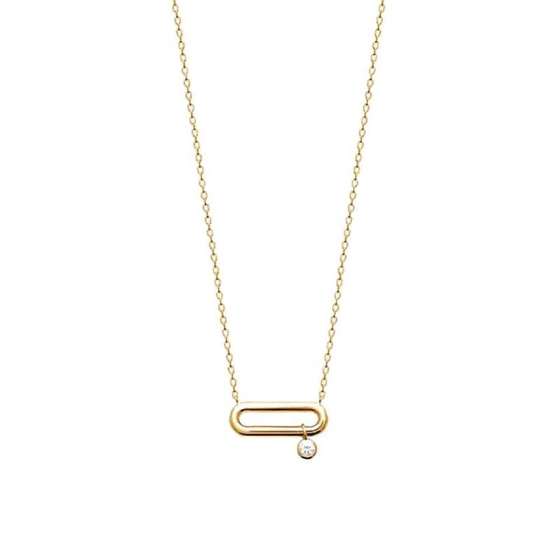 Collier plaqué or pendentif rectangulaire
