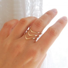 Bague plaqué or triple anneau en forme de V