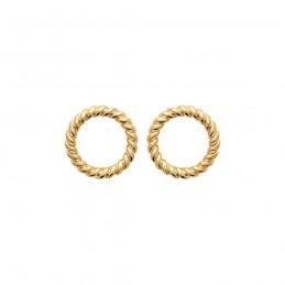 Boucles d'oreilles plaqué or cercles évidés puces
