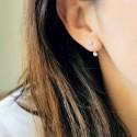 Boucles d'oreilles argent 925 zirconium dessous de lobe