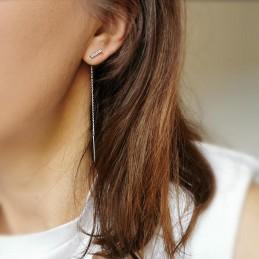 Boucles d'oreilles pendantes argent zirconium