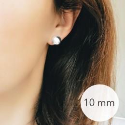 Boucles d'oreilles puces boules argent 10 mm