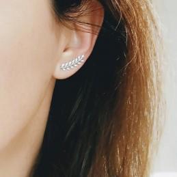 Boucles d'oreilles grimpantes argent zirconium épi