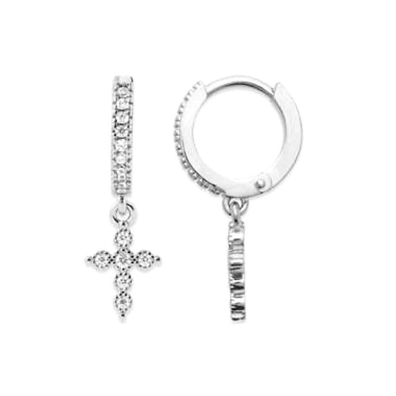 Boucles d'oreilles argent créoles avec pendentif croix