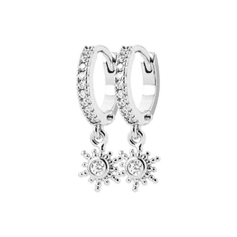 Boucles d'oreilles argent créoles avec pendentif soleil