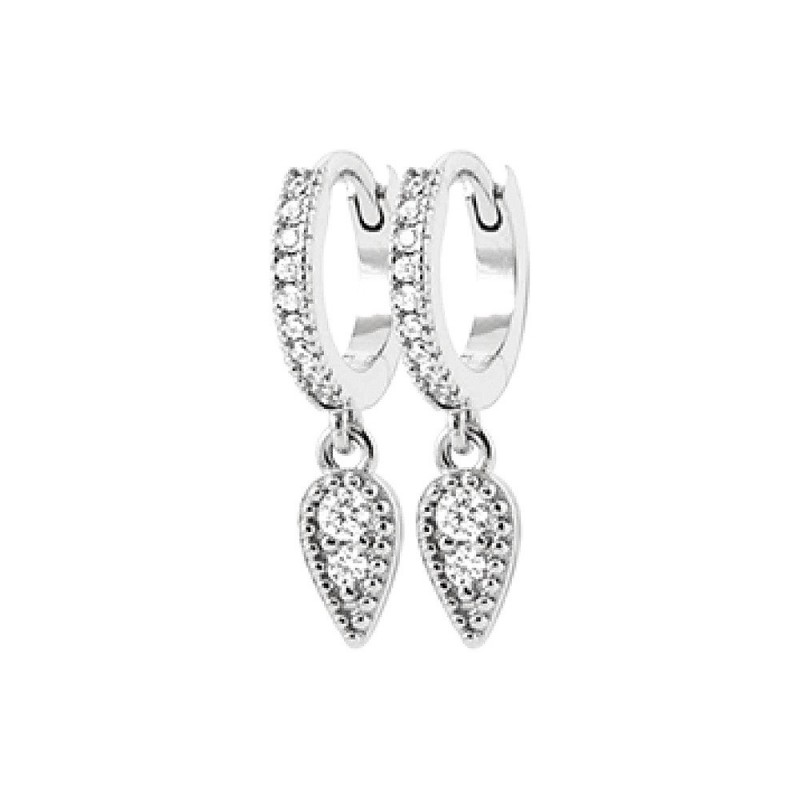Boucles d'oreilles argent créoles avec pendentif goutte