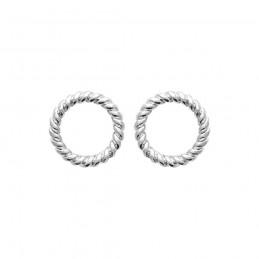 Boucles d'oreilles argent cercles évidés puces