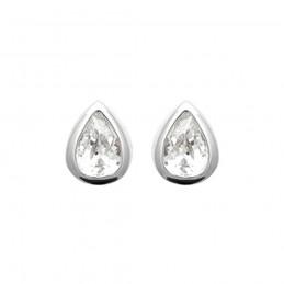 Boucles d'oreilles argent puces zirconium gouttes