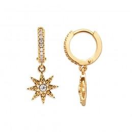 Boucles d'oreilles plaqué or créoles avec pendentif étoile