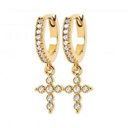 Boucles d'oreilles plaqué or créoles avec pendentif croix