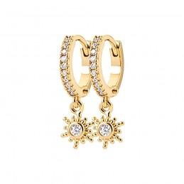 Boucles d'oreilles plaqué or créoles avec pendentif soleil