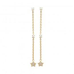 Boucles d'oreilles pendantes plaqué or chaîne et étoiles en zirconium