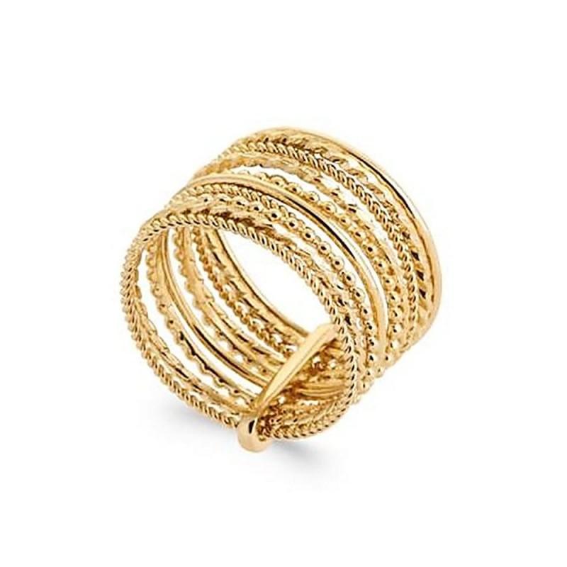 Bague plaqué or multirang plusieurs anneaux