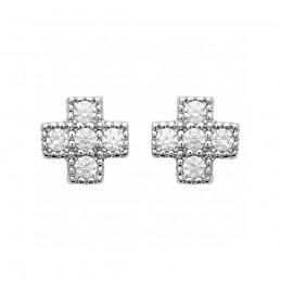 Boucles d'oreilles argent puces croix zirconium