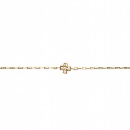 Bracelet plaqué or croix zirconium