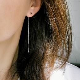 Boucles d'oreilles pendantes plaqué or chaîne traversante lobe