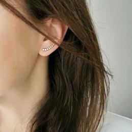 Boucles d'oreilles grimpantes plaqué or zirconium