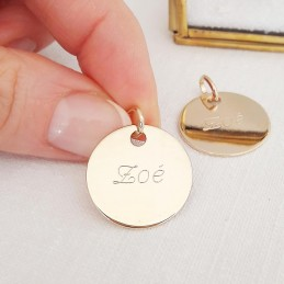 Pendentif gravé médaille personnalisée plaqué or 20 mm