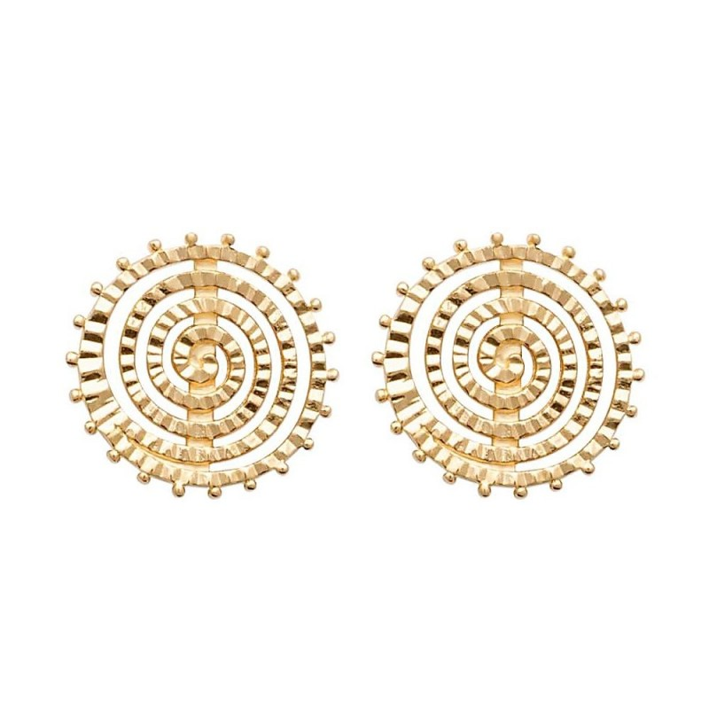 Boucles d'oreilles plaqué or puces spirales