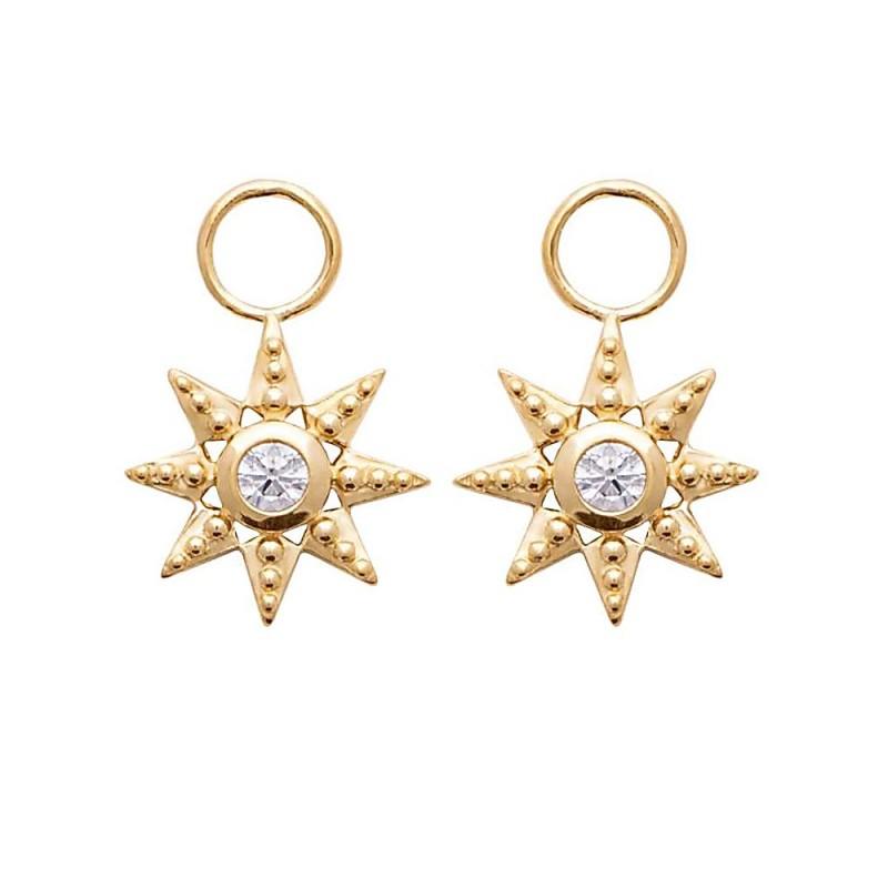 Breloques pour créoles étoiles en plaqué or