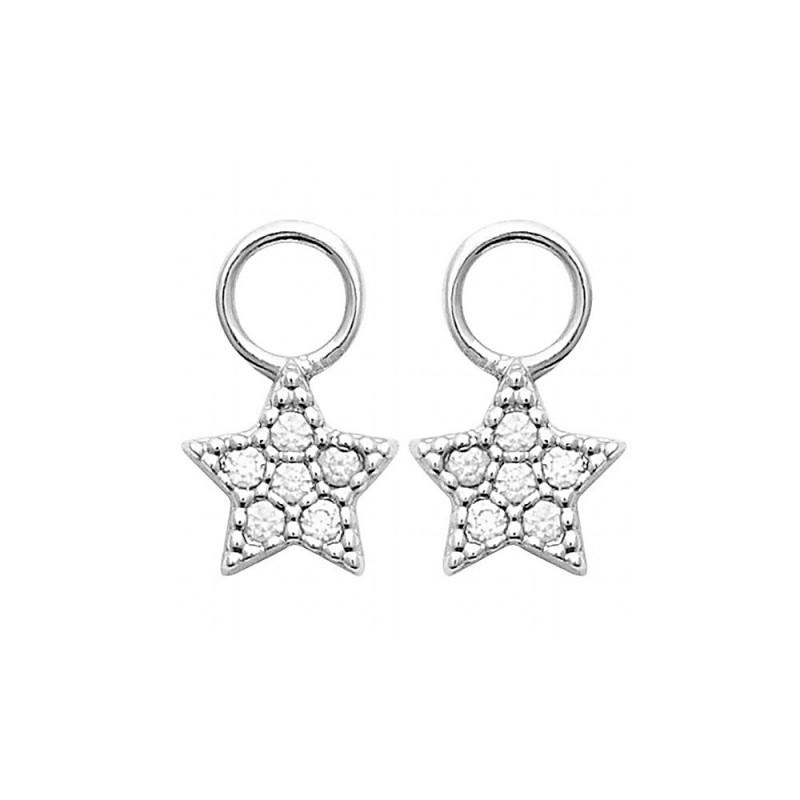 Pendentifs pour créoles argent étoiles zirconium