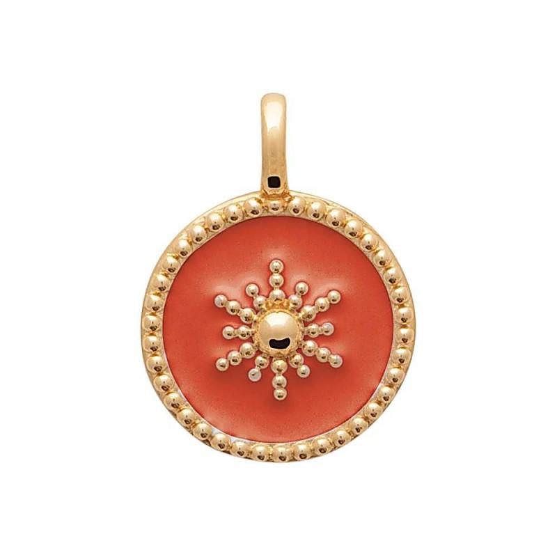 Pendentif médaillon plaqué or émail rouge soleil