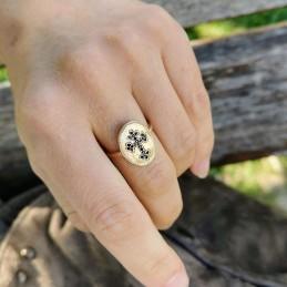 Bague plaqué or femme croix zirconium noir