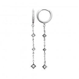 Boucles d'oreilles pendantes argent zirconium créoles avec pendentif